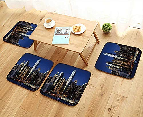 - UHOO2018 Universal Chair Cushions New York Skyline Personalized Durable W15.5 x L15.5/4PCS Set