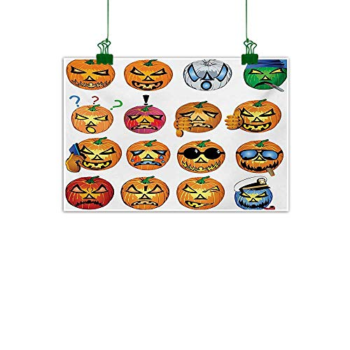 Unpremoon Halloween,Painting Carved Pumpkin with Emoji Faces Halloween Inspired Humor Hipster Monsters Artwork Abstract Artwork Home Decor Orange W 24