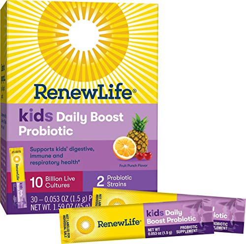 Renew Life Kids Probiotic - Kids Daily Boost Probiotic Supplement - Shelf Stable, Gluten and Soy Free - 10 Billion CFU - Fruit Punch, 30 Packets