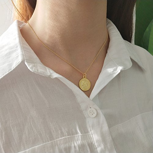 925 Sterling Silver Chain Necklace Jewelry Charm Gold Coin Pendent Simple Delicate Chic Fashion by yomee (Image #4)