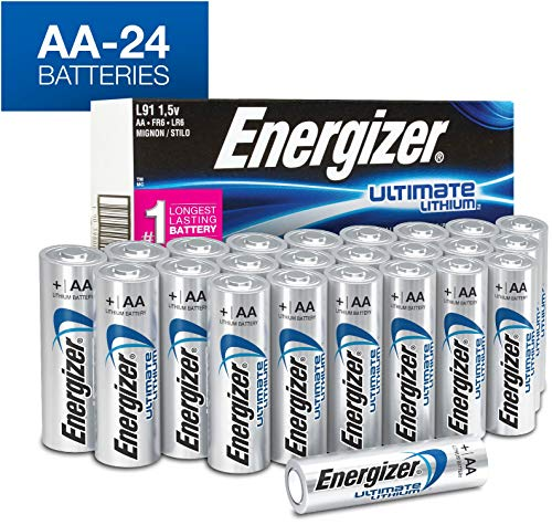 12 Pack Aa Alkaline Batteries - Energizer AA Lithium Batteries, World's Longest Lasting Double A Battery, Ultimate Lithium (24 Count)