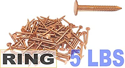 "1 1/4"" x 10-Gauge 3D Ring Copper Roofing/Slating Nails 5lb by FastenerUSA"