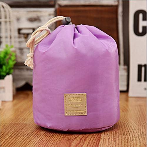 ZEZHE 旅行かわいいシンプルなシリンダー大容量防水コスメティックバッグガールポータブル仕上げ化粧品ウォッシュバッグ (Color : Purple)