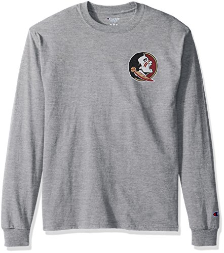 NCAA Florida State Seminoles Men's Champ Long Sleeve Tee 1, Large, Oxford Heather -