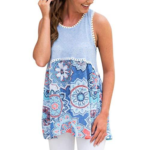 New Summer Tops for Women 2018 Fashion Sexy Hem Shirt Women Sexy Printed Sleeveless O-Neck Patchwork Irregular Tops Vest Blue M ()