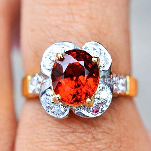 18.64ct Natural Oval Orange Hessonite Garnet 925 Gold Silver Ring 7US #R by Lovemom (Image #1)