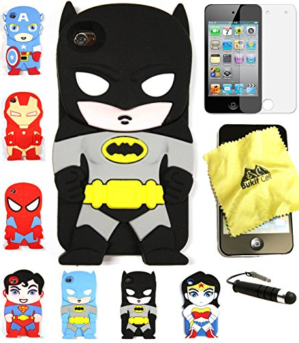 Bukit Cell 3D Superhero Case Bundle 4 Items: Batman Black Cute Justice League Soft Silicone Case for Ipod Touch 4 4g 4th Generation + Cleaning Cloth + Screen Protector + Metallic Stylus Touch Pen (Ipod Touch Superhero Cases)