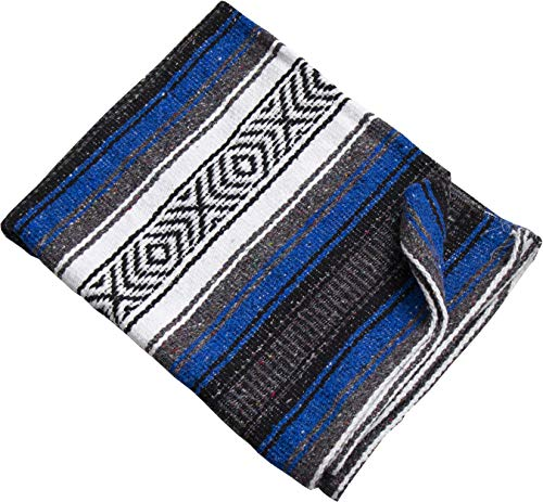 """- Threads West Premium Large Heavyweight Mexican Falsa Blanket, Serape Stripe Yoga Blanket, Beach Blanket Available in 2 Sizes! (72"""" X 52"""") and (52"""