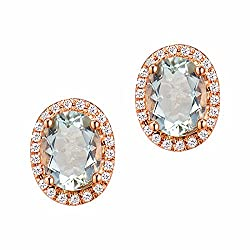Rose Gold Oval Green Diamond Earring