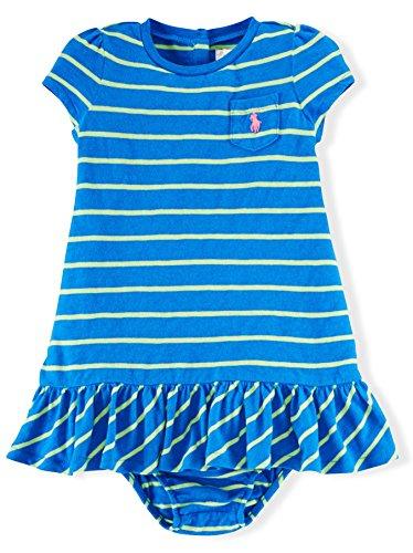 Ralph Lauren Baby Girls Striped Cotton Dress & Bloomer (9 MONTHS, SPA ROYAL MULTI)