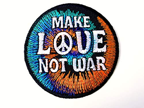(Tyga_Thai Brand Make Love Not War Peace Jacket T-Shirt Sew Iron on Embroidered Applique Badge Sign Patch (Iron-MakeLove-Notwar-Peace))