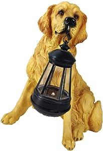 BESPORTBLE Golden Retriever Solar Lantern Resin Dog Sculpture with LED Light Solar Powered Garden Lantern Lamp Outdoor Lighting Yard Sign for Christmas Holiday Lawn Decorations