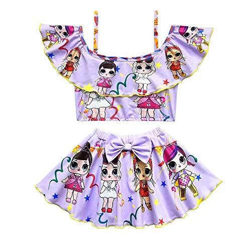 Girls Off Shoulder Swimsuits Toddler Two Piece Bikini Set Ruffle Doll Print Swimwear for Doll Surprised … (Purple, 110(4-5y))