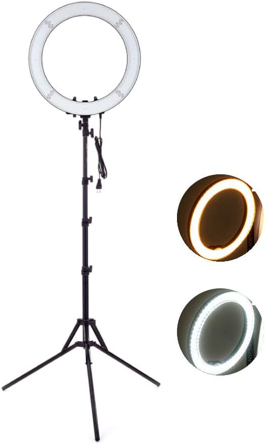 XY Dimmable LED Ring Light with Bracket Multi-Color RGB Makeup Selfie Portrait YouTube 19.3 Two-Color Adjustable Flare Lighting Kit for Camera