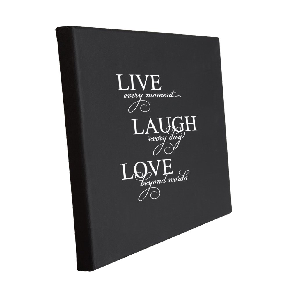 Style in Print Live Every Moment, Laugh Every Day, Love Beyond Words Jute Burlap Canvas Picture 11 in x 14 in
