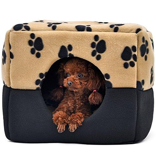 Doble Uso de huellas de yhuisen cubo de cama casa de mascota Perro Cama Mascota nido para animales pequeños gatos conejos perros pequeños con regla cojín ...