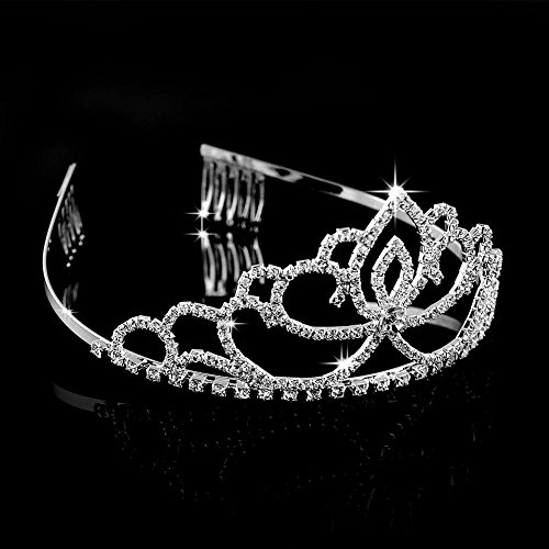 [ABEILLO Elegant Wedding Bridal Crown Headband Tiara Charming Rhinestone Headpiece] (Work Team Costumes)