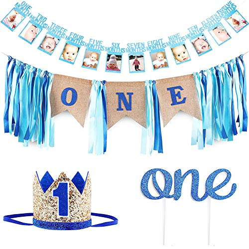 1st Birthday Boy's Decoration kit,GoodYH Baby Boy First Birthday Decorations High Chair Banner - Happy Birthday ONE Burlap Banner, Baby Photo Banner,No.1 Crown, Glitter Cake Topper]()