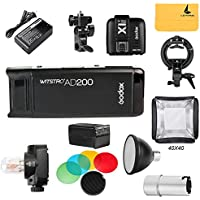 GODOX AD200 TTL 2.4G HSS 1/8000s Pocket Flash Light Double Head 200Ws with 2900mAh Lithium Battery Flashlight Flash Lightning+GODOX X1T-C Flash Trigger,S-type Bowens Mount Bracket,Standard Reflector