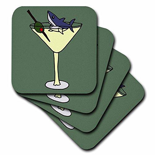 3dRose CST_200448_2 Fun Shark Swimming in Martini Glass Soft Coasters, Set of 8