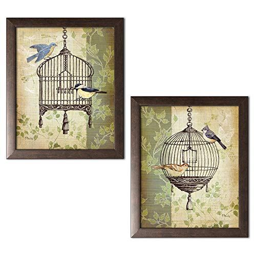 (wallsthatspeak 2 Botanical Birdcage Floral Collage Bird Home Decor Art Prints; Two 11x14in Brown Framed Prints; Ready to Hang!)
