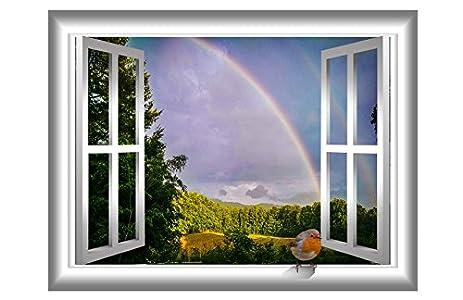Amazoncom Bird Window Decal Robin Decor Rainbow Wall Sticker - Bird window stickers amazon