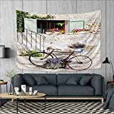 Anhuthree Bicycle Tapestry Table Cover Bedspread Beach Towel European French Mediterranean Rural Stone House with Bike Countryside Provence Day Photo Dorm Decor 71''x60'' Multi