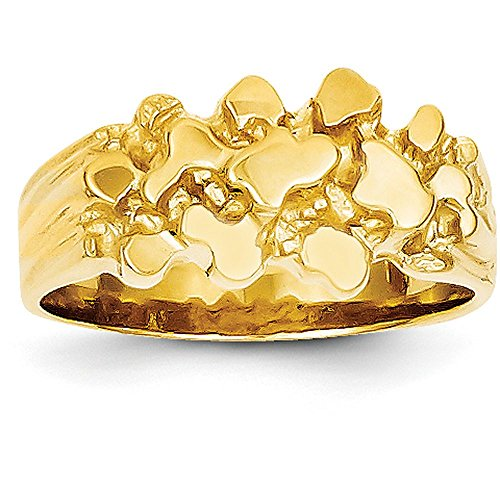 Ladies Gold Nugget Ring (14k Yellow Gold Nugget Ring (10mm Width) - Size 8)