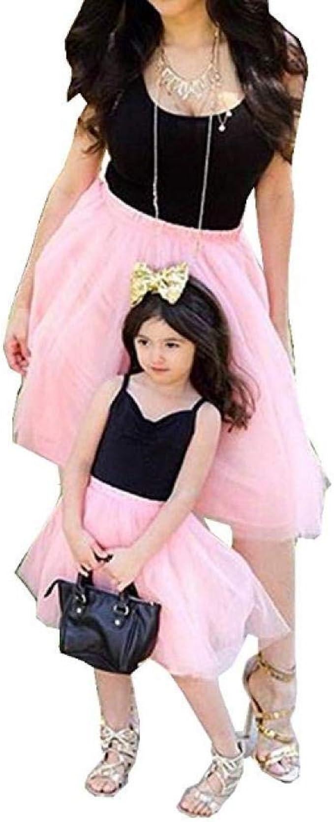 CHRONSTYLE Mutter und Tochter Kleider Set, Baby Kleidung Partnerlook Mutter  Tochter Familien Kleidung Mama und Kinder Mädchen Kleid Sommerkleid Tops