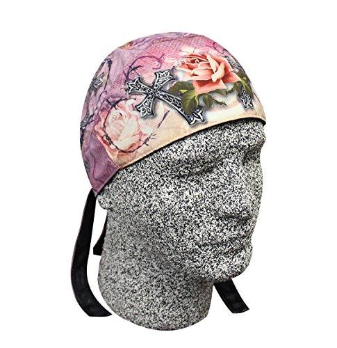 Platinum Biker Doo Rag Headwrap Pink Rose Barbed Wire Cross Sweatband