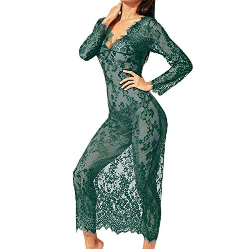 Xinantime Women Loose Lingerie Long Dress Negligee Nightie Lace Patchwork Sleepwear Jumpsuit Perspective Bodysuit Green