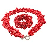 SUNYIK Red Coral Chip Necklace/Bracelt,Tumbled Stone,Jewelry Set