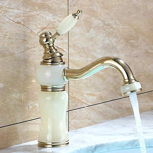 ZJN-JN 蛇口 流域の蛇口の浴室の蛇口洗面台の蛇口ホワイトジェイドヨーロッパ流域浴室キャビネット単穴の蛇口浴室用タップ 台付