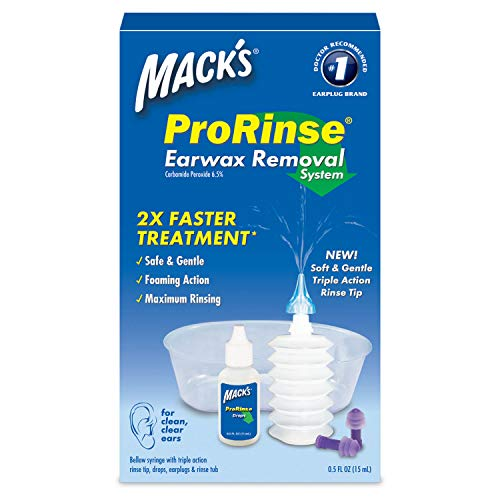 Mack's ProRinse Earwax Removal System - 0.5 FL OZ Ear Drops, Ear Plugs, Ear Wash Tub and Ear Syringe with Triple-Action Rinse Tip