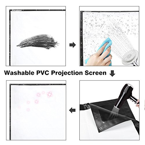 120 Inch 16:9 Portable Projector Screen High Contrast Collapsible PVC HD 4K Design with Hanging Hole Grommets for Front Projection Home Indoor and Outdoor Movie Match Party by Excelvan (Image #2)