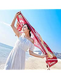 THSTVweijin Ms. Scarf Cotton Travel Scarf Vacation Sunscreen Scarf Air Conditioning Large Shawl Beach Towel THSTVweijin (Color : Wine red)