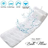 Breathable 3D Full Body Spa Bath Pillow, Lulxury soft Bathtub Head Neck Shoulder and Back Support, 3D Air Mesh Spa Cushion with 17 Non-Slip Suction Cups for Hot Tub & Mesh Washing Bag Quick Drying