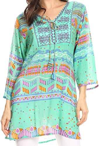 Sakkas 20173 - Carina Tie Front 3/4 Sleeve Tunic with Cross Stitch Embroidery - Sea Green - 3X (Plus Size Stores)