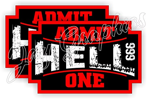 (2) HELL - ADMIT ONE Hard Hat Stickers | Motorcycle Welding Helmet Decals | Funny Labels Badges Toolbox 666 Demon Devil Ticket Angels Tattoo