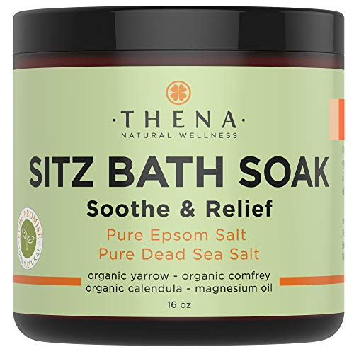 Best Organic Sitz Bath Soak for Postpartum Care Recovery & Hemmoroid Treatment, Extra Healing Natural Relief Control Safe at-Home Treatment Remedies, Epsom & Dead Sea Salts Witch Hazel Essential Oils