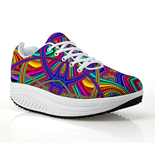 Platform 6 Pattern DESIGNS Smart Casual Breathable Bohemia Sneaker Women's Mesh Swing FOR U Shoes Slimming p6BqBPTw