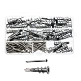 Waykino Metal Self Drilling Drywall Wall Anchor Assortment Set Kit with Self Tapping Stainless Steel Screws, 100-Pack