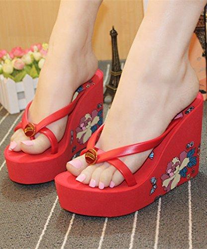 AWXJX Frauen unten Flip Flops Blumen Dick unten Frauen High Heel Hang Zuziehen Seaside Rot cbc0e9