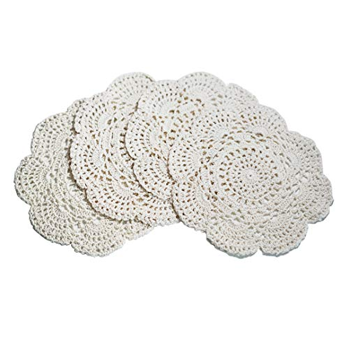 Phantomon 8 Inch Doilies Crochet Round Lace Doilies Cloth Beige Handmade 100% Cotton Crocheted Coasters, Pack of 4