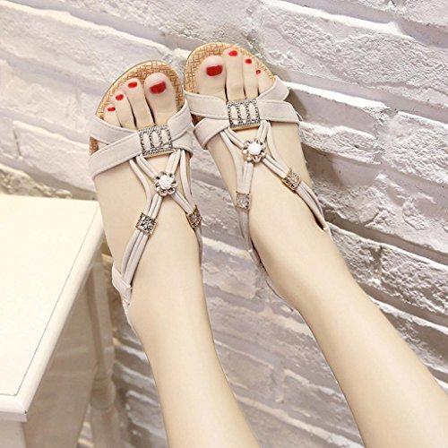 Damen Sandalen, SHOBDW Frauen Wedges Schuhe Bohemia Beaded Freizeit Lady Sandalen Peep-Toe Outdoor Schuhe Weiß