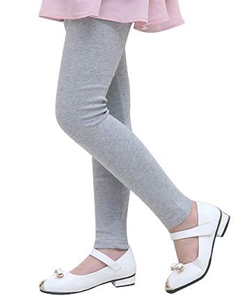 Quge Filles Leggings Pleine Longueur Enfants Thermique Crayon Pantalon Gris  Clair 160CM 10943c6e6ee
