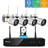 [Pan Tilt & Built-in Audio] Kittyhok 1080p HD H.265 Pan Tilt Wireless Security Camera System Outdoor with 8CH NVR, 4pcs WiFi PT Cameras and 1TB HDD, 4x Digital Zoom, Night Vision, Easy Mobile Access