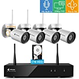 [Pan Tilt & Built-in Audio] Kittyhok 1080p Full HD Pan Tilt Wireless Security Camera System Outdoor 8CH NVR, 4pcs WiFi PT Cameras 1TB HDD, 4X Digital Zoom, Night Vision, Mobile Remote Access