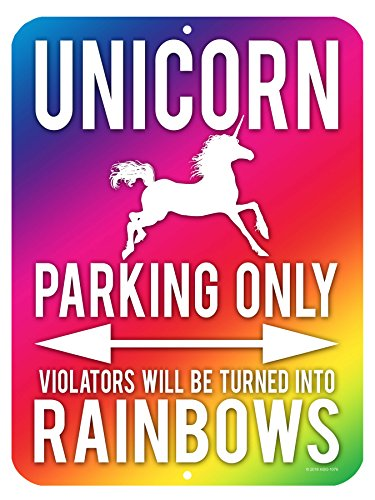 Wall Decor For Teens - Unicorn Wall Decor, Unicorn Parking Only Sign, Violators Will Be Turned Into Rainbows, 9 x 12 Inch Aluminum Novelty Signs For Kids Room, Gifts for Girls, Funny Metal Wall Décor