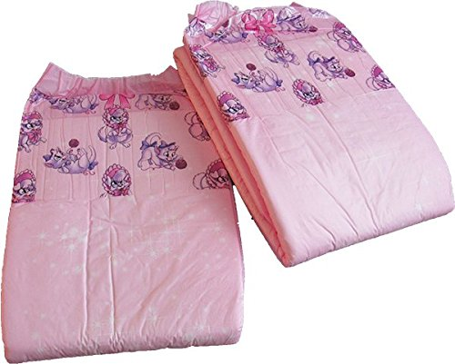 2 Diapers - DC Amor - Medium/Large - all pink theme! plastic-backed adult baby (No Scent, Medium)